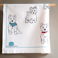 Tea Towel featuring 7 westie dogs