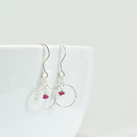 Ruby and Delicate Sterling Silver Circle Earrings