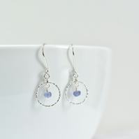 Tanzanite and Delicate Sparkly Sterling Silver Circle Earrings