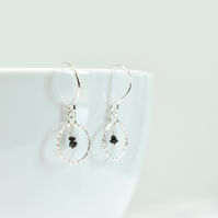Delicate Sterling Silver Circle and Black Diamond Earrings