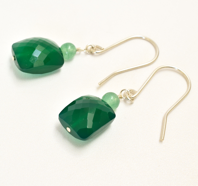 Green Onyx Rectangles topped with Aventurine Sterling Silver Earrings