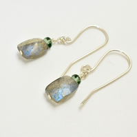Labradorite and Green Apatite Sterling Silver Earrings