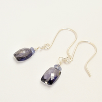 Iolite and Tanzanite Sterling Silver Earrings