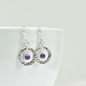 Amethyst and Fine Silver Circle Earrings
