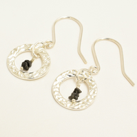 Black Diamond and Textured Fine Silver Circle Earrings