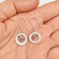 Tanzanite and Fine Silver Circle Earrings