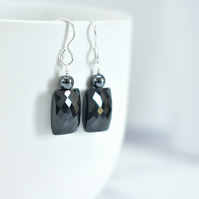 Black Spinel and Hematite Gemstone Earrings