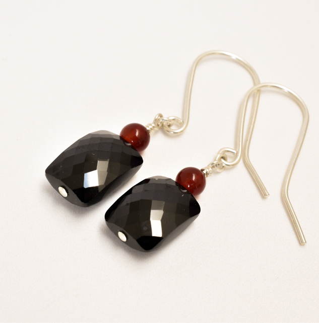 Black Spinel and Red Agate Sterling Silver Earrings