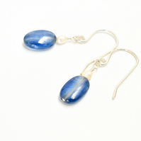 Cornflower blue Kyanite ovals with tiny white seed pearl earrings