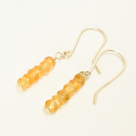 Minimalist Citrine and Sterling Silver Stacked Earrings