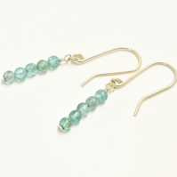 Minimalist Ocean Apatite and Sterling Silver Stacked Earrings