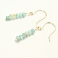 Minimalist Larimar and Sterling Silver Stacked Bar Earrings