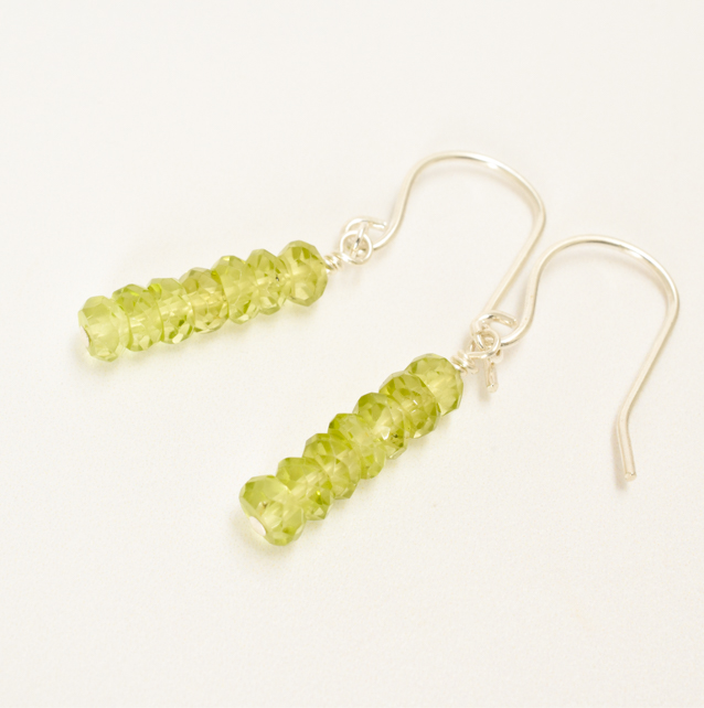 Minimalist Peridot and Sterling Silver Stacked Earrings
