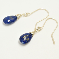 Gorgeous Dark Blue Lapis Lazuli Sterling Silver wrapped Briolette Earrings