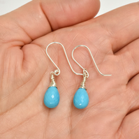 Gorgeous Turquoise Sterling Silver wrapped Briolette Earrings