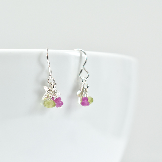 Tiny Flower with Pink Sapphire and Peridot Cluster Earrings