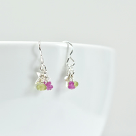 Tiny Heart with Pink Sapphire and Peridot Cluster Earrings