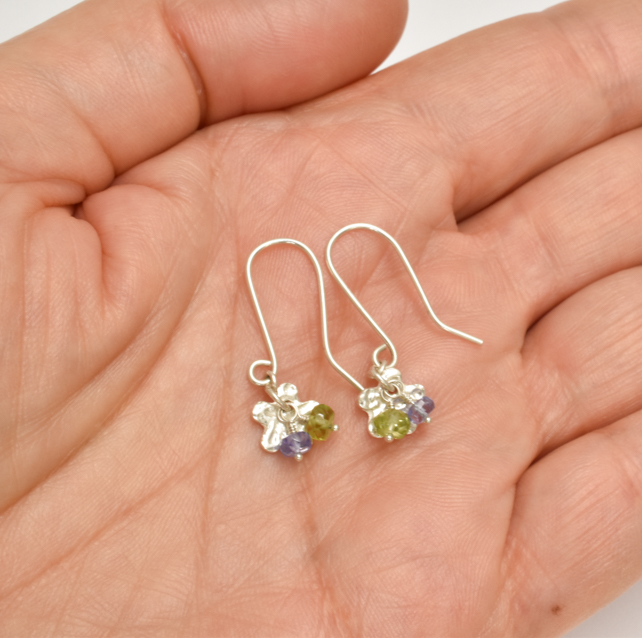 Tiny Flower with Tanzanite and Peridot Cluster Earrings
