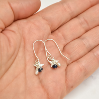 Tiny Flower with Blue Sapphire and White Seed Pearl Cluster Earrings
