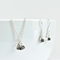 Black Diamond with Fine Silver Heart Pendant Necklace