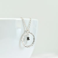 Black Diamond with Textured Fine Silver Circle Pendant Necklace