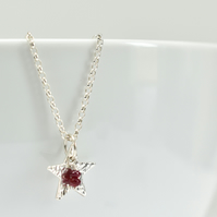 Ruby with Fine Silver Star Pendant Necklace