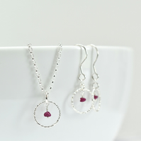 Ruby with Sterling Silver Slim Circle Pendant Necklace