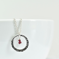 Ruby with Fine Silver Circle Pendant Necklace