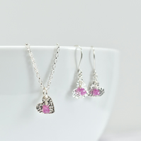 Pink Sapphire with Fine Silver Heart Pendant Necklace