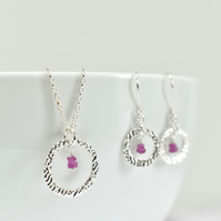Pink Sapphire with Fine Silver Circle Pendant Necklace