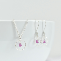 Pink Sapphire with delicate Sterling Silver Circle Pendant Necklace