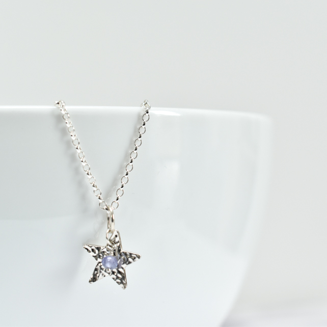 Tanzanite with Fine Silver Star Pendant Necklace