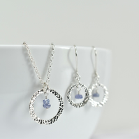Tanzanite with Fine Silver Circle Pendant Necklace