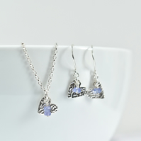 Tanzanite with Fine Silver Heart Pendant Necklace