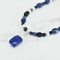 Lapis Lazuli, Dumortierite, Sodalite and Pearl Necklace with Lapis Pendant