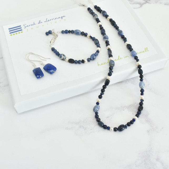 Lapis Lazuli, Dumortierite, Sodalite and Pearl Necklace