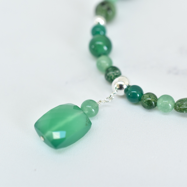 Green Onyx, Aventurine, Moss Agate, Sterling Silver Necklace with Onyx Pendant