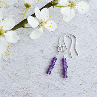 Minimalist Amethyst and Sterling Silver Stacked Earrings