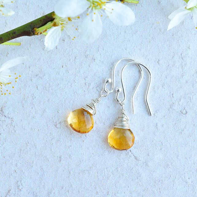 Gorgeous Yellow Citrine Sterling Silver wrapped Briolette Earrings