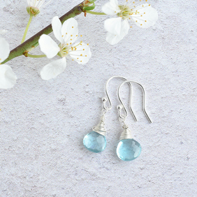 Gorgeous Ocean Apatite Sterling Silver wrapped Briolette Earrings
