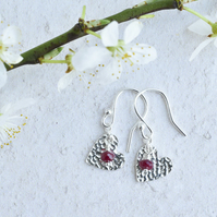 Ruby and Fine Silver Heart Earrings