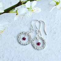 Ruby and Fine Silver Circle Earrings