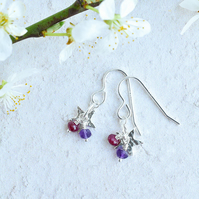 Tiny Flower with Ruby and Amethyst Cluster Earrings