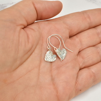 Aquamarine and Fine Silver Heart Earrings