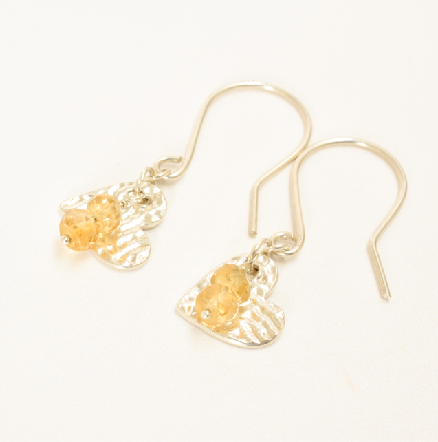 Citrine and Fine Silver Heart Earrings