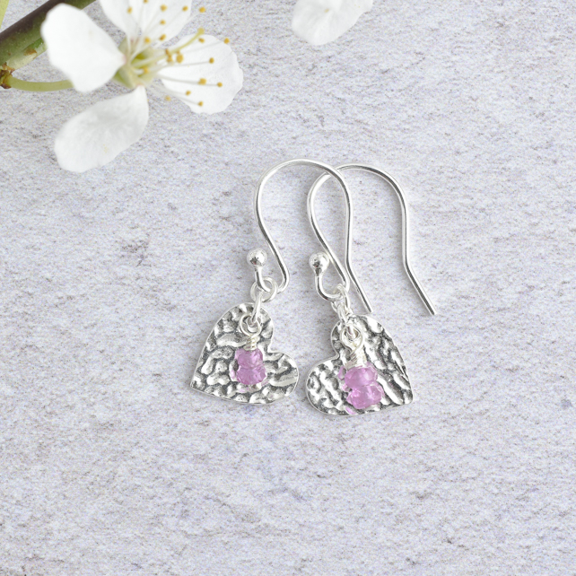 Pink Sapphire and Fine Silver Heart Earrings