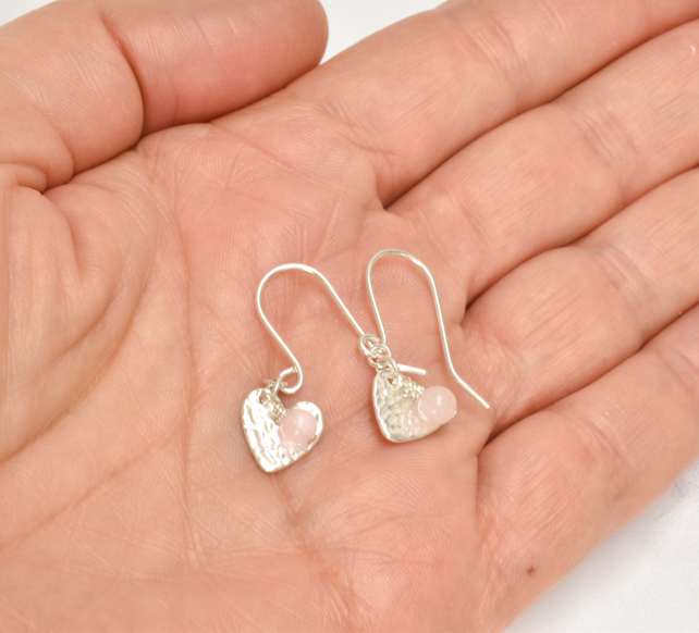 Rose Quartz and Fine Silver Heart Earrings