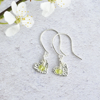 Peridot and Fine Silver Heart Earrings