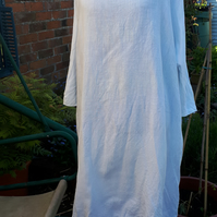 Lagenlook white  linen dress Daisy  size L