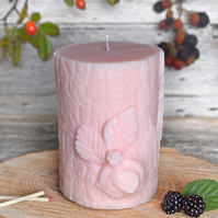 Bark & Berry Sculpted Vegan Pillar Candle: Pink